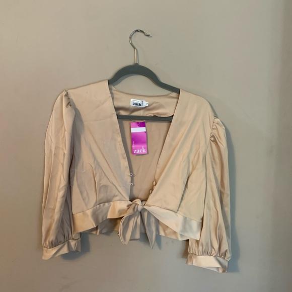 ASOS Tan Nude Cream Tie Blouse Top